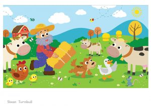 Old MacDonald brings hay to his farm animasl in this charming nursey rhyme illustration.