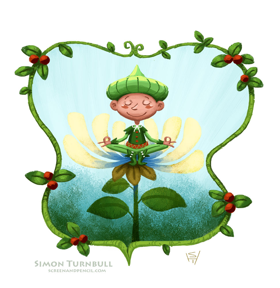 A painting of a fairy sitting on a flower by the illustrator Simon Turnbull