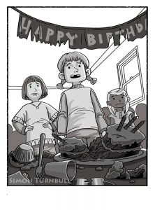 chapter book illustration of a birthday which has been ruined