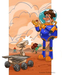 A farcical picture of a martian aastronaut posing or a picture while his robot does all the work