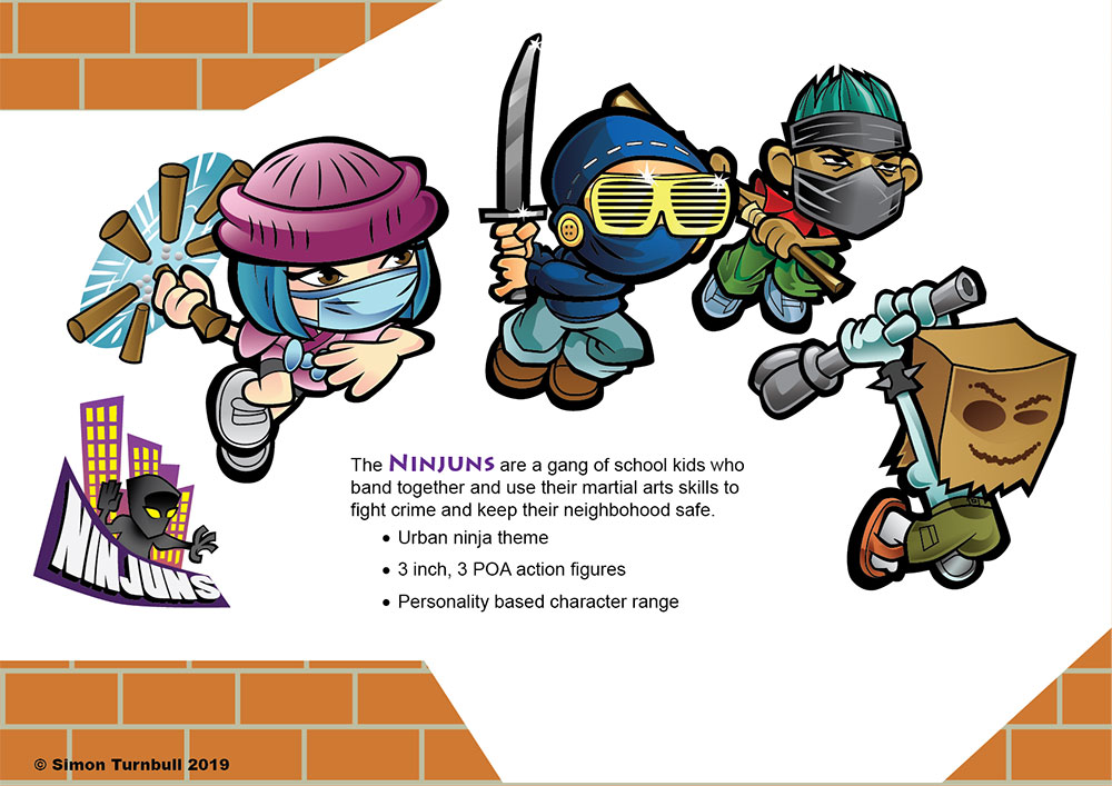 A selection of characters from a toy brand development package.