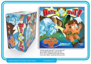 packaging art for a childrens action board game